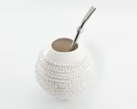 Handgemachter Mate Tee Becher Kalebasse mit Bombilla Spiky in weiss