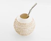 Handgemachter Mate Tee Becher Kalebasse Spiky mit echtem Gold