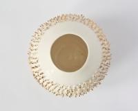 Kalebasse mit Mikromassage in weiß und Echt Gold