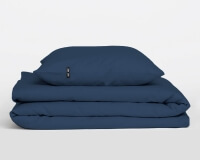 Hochwertige Perkal Bettwäsche PURE aus Obsidian blauer Baumwolle