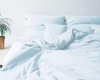 Bettwäsche hellblau aus reiner Perkal Baumwolle Pastellblau
