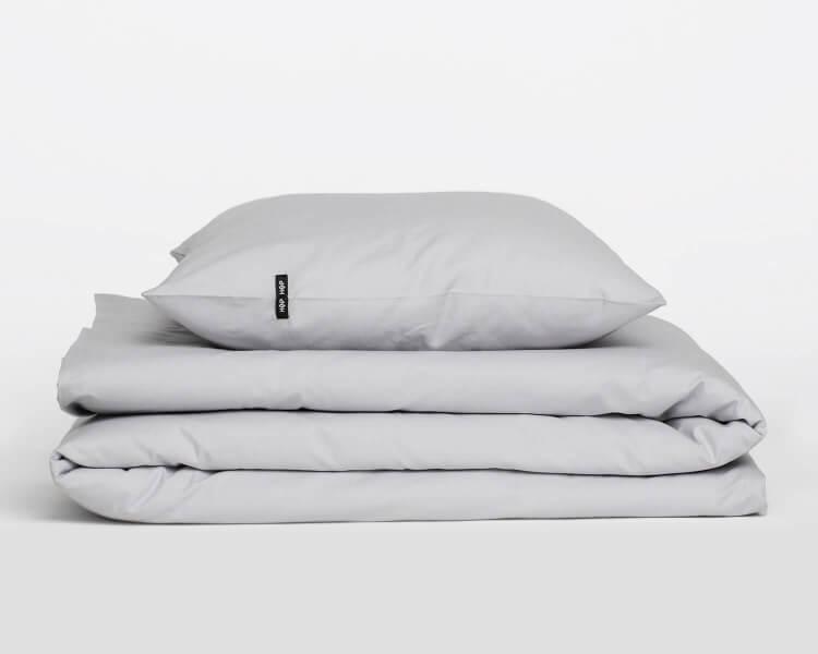 Bettwäsche grau aus natürlicher Perkal Baumwolle