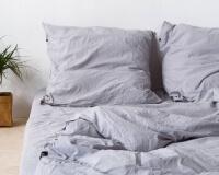 Hellgraue Perkal Bettwäsche aus reiner Baumwolle