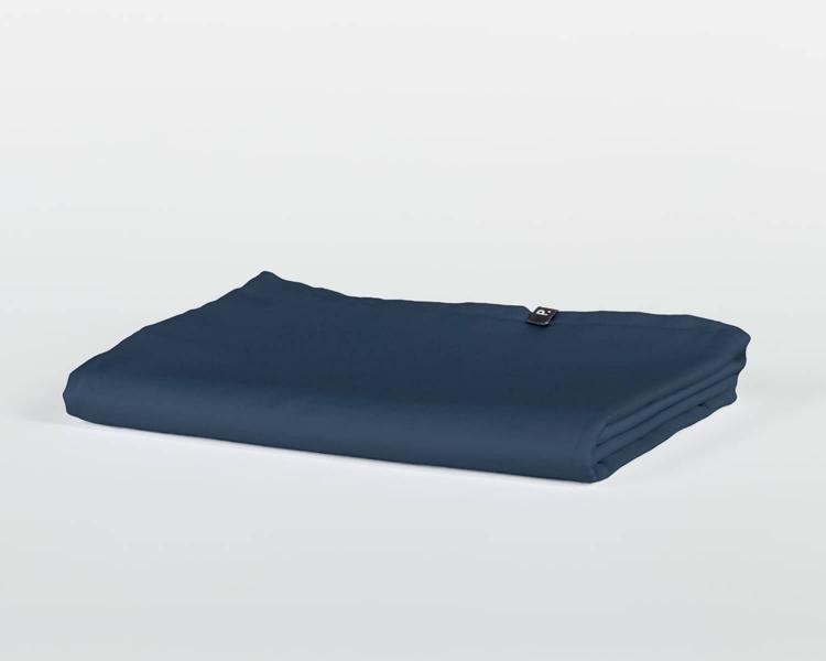 Bettlaken ohne Gummizug blau PURE aus Perkal Baumwolle