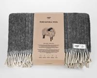 Schurwolldecke grau mit beigen Fransen aus neuseeländischer Wolle