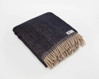 Wolldecke blau RuRu aus neuseeländischer Schurwolle und eleganten Fransen