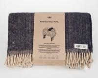 Schurwolldecke blau mit beigen Fransen aus neuseeländischer Wolle