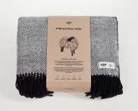 Schurwolldecke schwarz mit beigen Fransen aus neuseeländischer Wolle