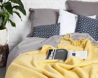 Einfargige Wolldecke gelb Yeti aus neuseeländischer Schurwolle