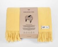 Uni farbige Wolldecke mit Fransen in gelb aus neuseeländischer Schurwolle