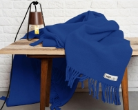 Schurwolldecke in Uni kobaltblau Yeti aus neuseeländischer Schur