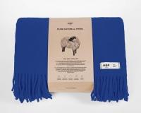 Uni farbige Wolldecke mit Fransen in kobaltblau aus neuseeländischer Schurwolle