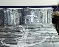 Mediterrane Bettwäsche mit Anker Holzwand