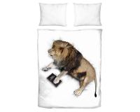 Bettwäsche mit schlafendem Löwen aus hochwertiger Baumwolle