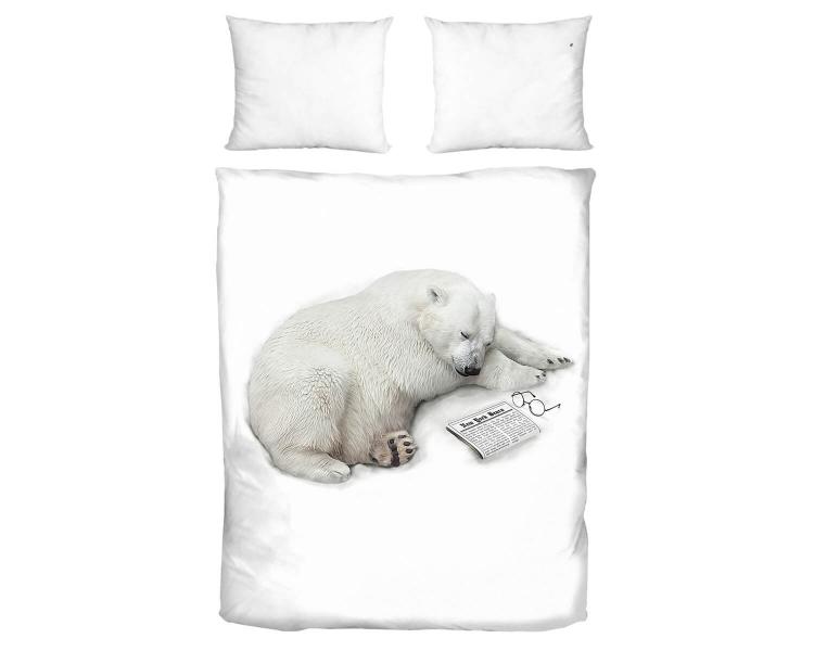 Bettwäsche mit schlafendem Eisbären aus Baumwolle