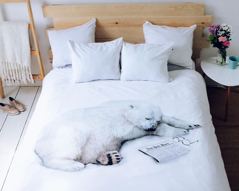 bettw sche schlafender eisb r aus hochwertiger baumwolle. Black Bedroom Furniture Sets. Home Design Ideas