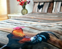 Hahn auf Holzbretter Bettwäsche