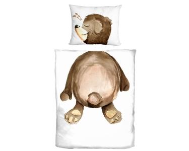 Teddybär Kinderbettwäsche mit Aquarell Aufdruck