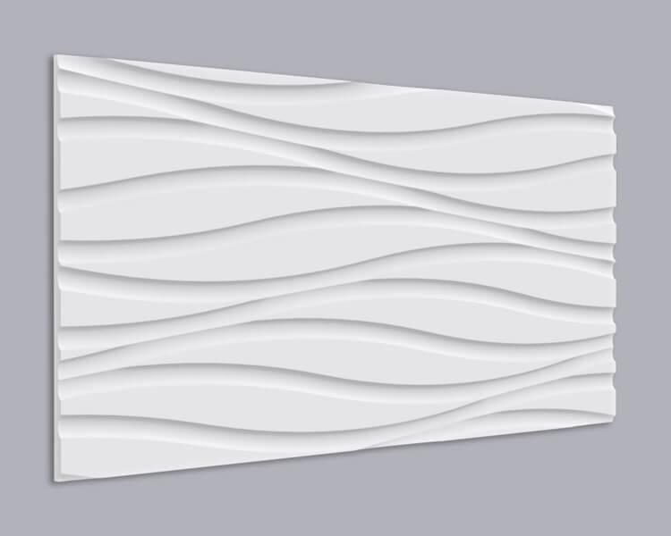 3D Wandpaneel 002 aus MDF Holzplatte mit großen Wellen Muster