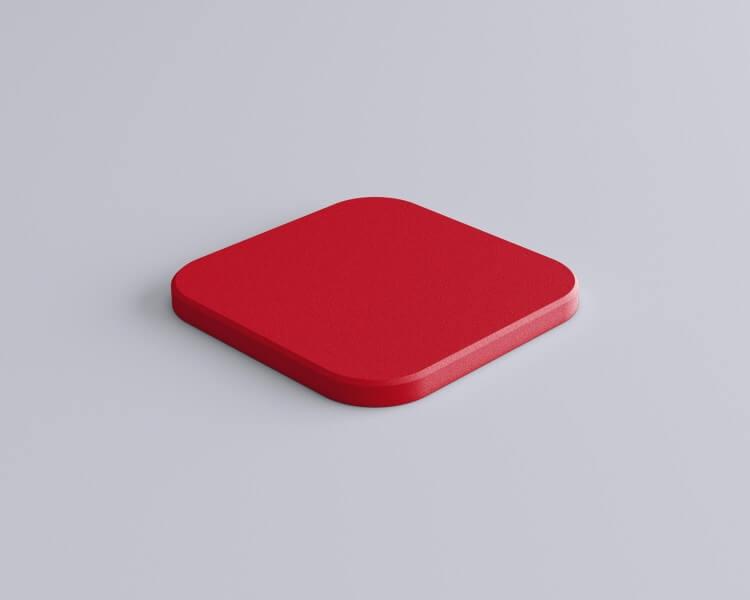 Weiches 3D Wandpaneel Tele edge Quadrat mit abgerundeten Ecken und abgeschrägten Kanten von fluffo