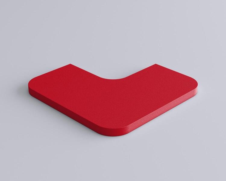 Weiches Wandpaneel Tele cut Quadrat mit abgerundeten Ecken von fluffo