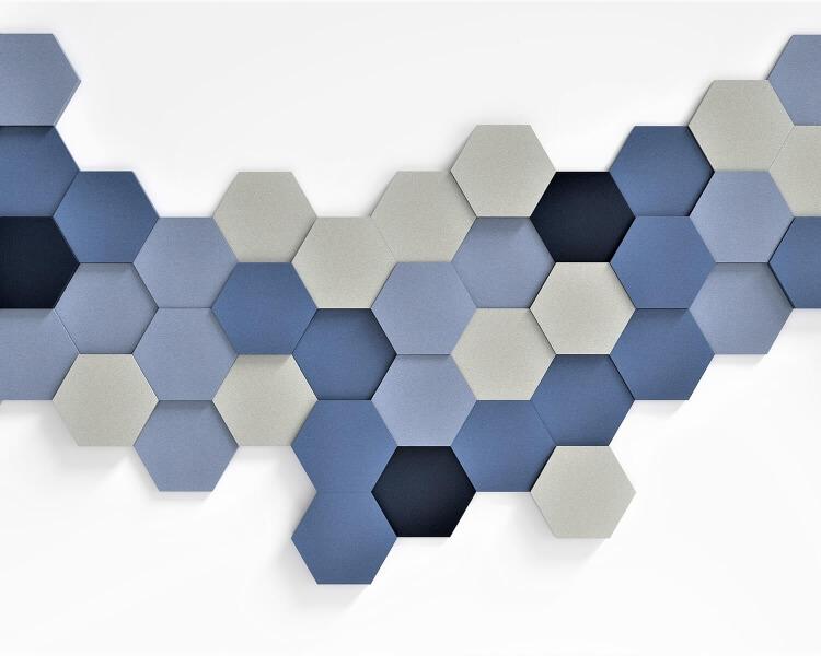 3D Wände Konferenzzimmer aus weichem Akustikschaumstoff Hexa