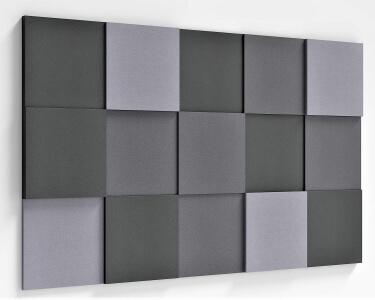Weiche Akustikpaneele fluffo in quadratischer Form Pixel
