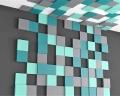 kreative 3D Wand aus kleinen bunten Quadraten Pixel fluffo
