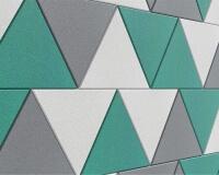 Schalldämmung im Büro aus weichen Akustikpaneelen in Dreieck Form Triada