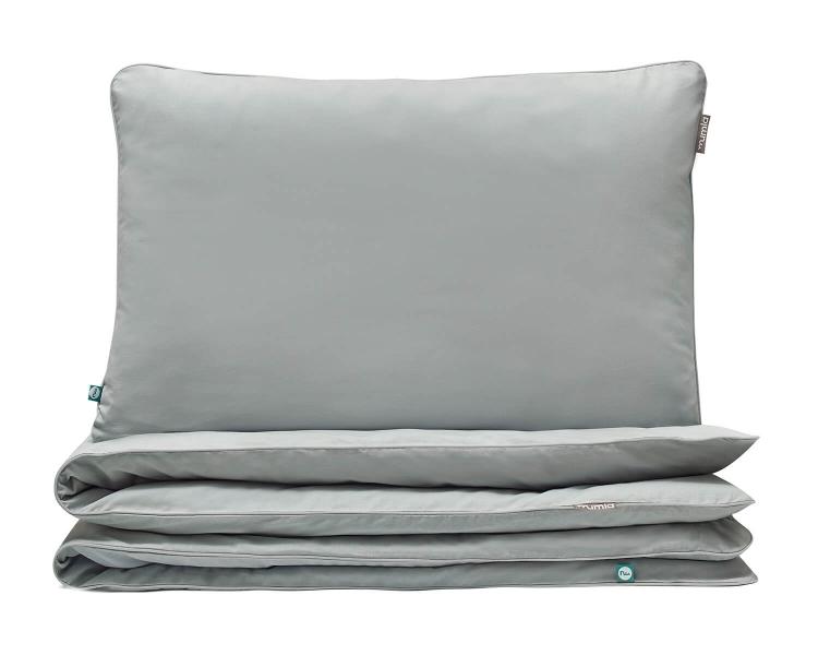 Kinderbettwäsche grau uni aus hochwertiger Baumwolle