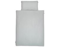 Schöne Kinderbettwäsche in uni grau aus zertifizierter Baumwolle