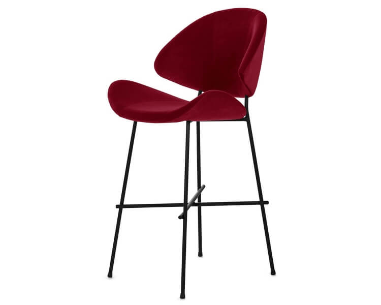 Niedriger Barhocker rot Cheri Bar low auf schwarzem Fußgestell von Iker