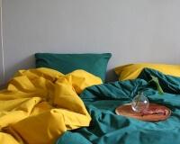 Baummwoll Bettwäsche dunkelgrün und senfgelb von Mumla