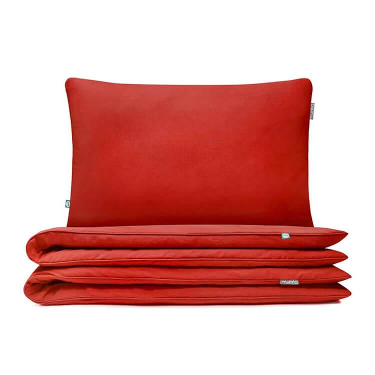 Hochwertige Bettwäsche in Ziegelrot von Mumla. Reine Baumwolle