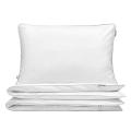 Hochwertige Bettwäsche weiß mit grauer Paspel von Mumla. Reine Baumwolle