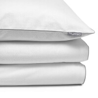 Mumla Bettwäsche weiß mit grauem Paspelband aus hochwertiger Baumwolle