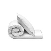 Elegante Bettwäsche weiß mit grauer Paspel von Mumla. Hochwertige Baumwolle
