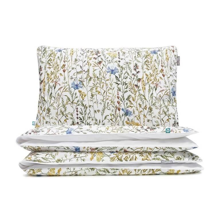 Mumla Sommerwiese Bettwäsche mit Feldgräsern und blauen Blumen aus reiner Bettwäsche
