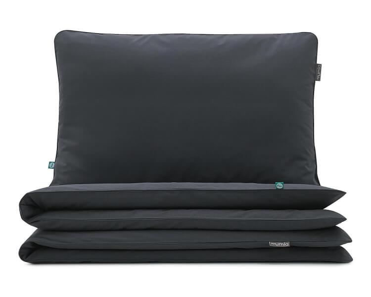 Bettwäsche dunkelgrau uni aus hochwertiger Baumwolle