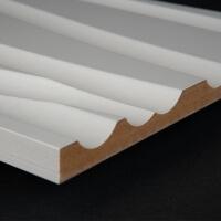 3D Wand 002 aus gefrästem MDF Holz, weiß grundiert