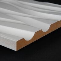 3D Wand 007 aus gefrästem MDF Holz, weiß grundiert