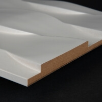 3D Wand 036 aus gefrästem MDF Holz, weiß grundiert