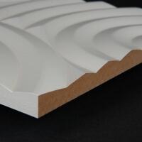 3D Wand 040 aus gefrästem MDF Holz, weiß grundiert
