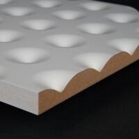 3D Wand 051 aus gefrästem MDF Holz, weiß grundiert