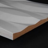 3D Wand 053 aus gefrästem MDF Holz, weiß grundiert