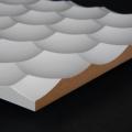 3D Wand 054 aus gefrästem MDF Holz, weiß grundiert