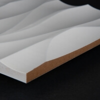 3D Wand 056 aus gefrästem MDF Holz, weiß grundiert