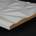 3D Wand 058 aus gefrästem MDF Holz, weiß grundiert