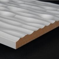 3D Wand 069 aus gefrästem MDF Holz, weiß grundiert