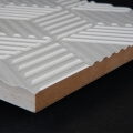 3D Wand 075 aus gefrästem MDF Holz, weiß grundiert